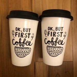 2 travel mugs